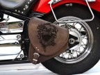 Brown Leather Swingarm Skull Single Pannier Saddle Bag for Harley Davidson Softail